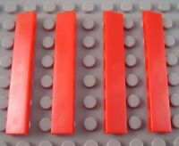 New LEGO Lot of 4 Red 1x6 City Creator Smooth Tiles