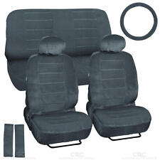 9 Piece High Back Car Seat Covers - Regal Velour Fabric Dotted Tweed - Charcoal