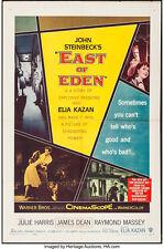 """Poster East of Eden 1955 27""""x41"""" VF-7 Julie Harris James Dean Burl Ives"""