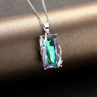 925 Sterling Silver Necklace with Mystic Topaz Pendant UK Seller
