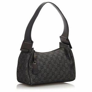 GUCCI Black Denim GG Monogram Canvas Shoulder Bag