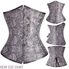 Lady's Boned Lace Up Satin underbust waist Training Corset Bustier Shapewear UPS