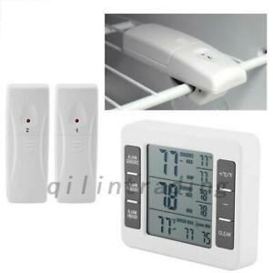 1/2 Sensors Wireless Digital Freezer Alarm Thermometer Fridge Home In/Outdoor AU
