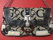 Guess Vintage Monogram Logo Small Shoulder Handbag Clutch Bag Chain Strap