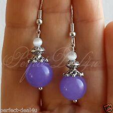 Purple White Earrings Jade & Cats Eye Gemstone Jewelry 925 sterling silver hooks