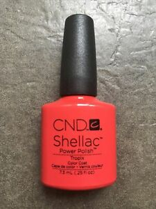 Genuine Ex-salon CND Shellac Gel UV Nail Polish, Tropix, Orange/Red, New Unboxed