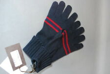 Gucci Mens Woman's Gloves Midnight Blue Bordeaux Stripe 100% Wool M NWT