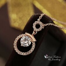 18K Rose Gold Filled Simulated Diamond Sparkling Delicate Round Necklace
