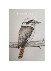 Kookaburra Australian Native Bird A5 Unframed Original 1 Of  Painting By Kenna