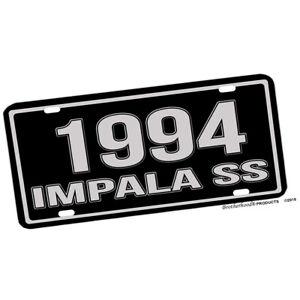 Chevrolet Impala SS 1994, 1995, or 1996 Black Silver Aluminum License Plate