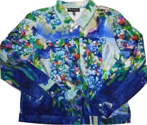 CLAIRE DESJARDINS Canadian Artist Full Bloom Button Jacket  XL Wearable Art NWOT