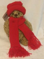 "Hallmark Mary Red Hat & Scarf Christmas Winter Stuffed Plush Brown Bear 9"" Tags"