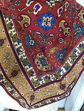 Vintage Silk Scarf Red Blue Gold Floral Geometric 26�squ