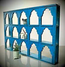 ANTIQUE VINTAGE INDIAN FURNITURE. LARGE DISPLAY / SHELVING UNIT. SAPPHIRE BLUE