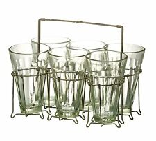 Vintage Style Tea Glasses Tumblers in Metal Holder, Rustic Alfresco Dining,