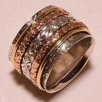 925 Sterling Silver Brass Spinner Ring Meditation Ring Statement Ring ss139