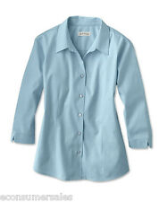 Womens Orvis Wrinkle Free Three Quarter Sleeved Shirt Size 10 Blue Cotton New