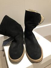 New ARMANI JEANS Stivaletti Black Suede Shearling Ankle Boots 6.5 US 37 EU