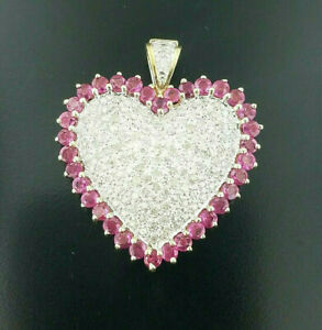 10K Yellow Gold Heart Pendant with 1.00 TCW Diamonds & Rubies