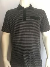 Travis Mathew Short Sleeve Polo Shirt Collar Buttons Stripe Athletic Stretch L
