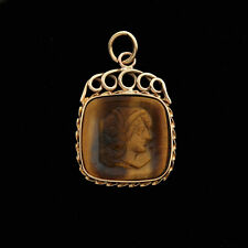 Victorian14K Handcrafted Tager's-eye Antique Cameo Watch Fob / Pendant / Charm
