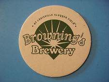 Beer Bar Coaster ~ BROWNING'S BREWERY at Louisville, KY Slugger Field ** CLOSED