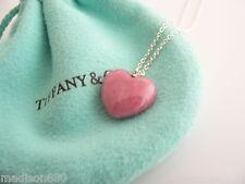 Tiffany & Co Silver Pink Rhodonite Heart Necklace Pendant Charm Chain Rare