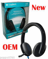 Logitech H540 USB Headset with Mic for PC Calls and Music 981-000510 - New Black