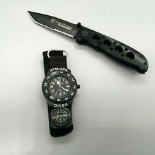 Smith & Wesson Extreme Ops Combo Folding Knife and Watch Set in Tin Box