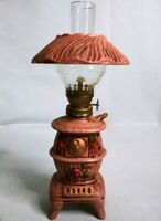 Vintage Ceramic Floral Desk Belly Wood Stove Small Oil Lamp - Made in Japan