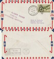 US 1946 FAM 28 FIRST FLIGHT FLOWN COVER ANCHORAGE ALASKA TO SEATTLE WASH