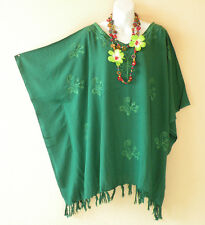 Embroidered Green Solid Plus Size Kaftan Tunic Hippy Women Blouse Top - 2X to 5X
