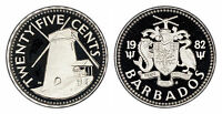 BARBADOS 25 CENTS 1982 (GEM PROOF) *ONLY 843 MINTED!!!*