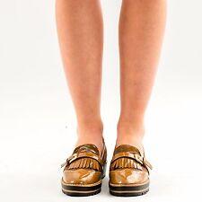 damen damen flache casual lack keilabsatz fransen tassel loafers mules shoes