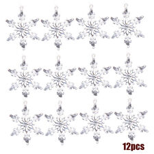 12Pcs Acrylic Crystal Snowflake Christmas Tree Hanging Pendant Decor Ornaments