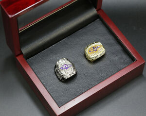2pcs Baltimore Ravens Super Bowl Championship Ring with Wooden Display Box Set
