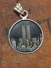 Sterling Silver TWIN TOWERS CHARM Round medal Pendant New York City World Trade