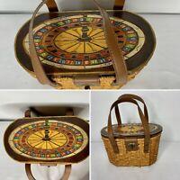 Vintage Wooden Purse Handbag Wicker Straw 1960's Gambling Roulette