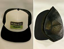 Vintage WHITE TRUCKS Old Stock Trucker Hat Old School Snap Back Hat Cap