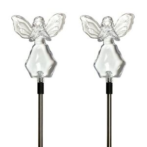 Set of 2 Solar Powered Angel w/ Star Yard Garden Stake Color Changing LED Light
