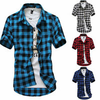 UK Stock Mens Summer Casual Lattice Shirt Plaid Short Sleeve T Shirts Tops Patt