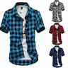 UK Trendy Men Summer Casual  Shirt Checked Short Sleeve T Shirts Tops ILC