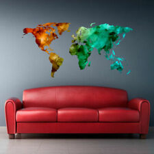 Full Color Wall Decal Sticker World Map Watercolor Triangle Like (Col766)