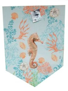 """Seahorse Table Runner Quilted Appliqued 72x13"""" Beach Summer House Sand Dollar"""