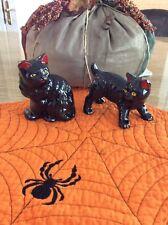 Vintage Enesco Large Ceramic Black Cat Salt And Pepper Shakers Nos