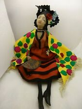 REDUCED Rare LENCI Felt Antique Spanish Lady w Dudovich Face