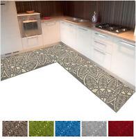 Tappeto cucina angolare 3D passatoia gotica su misura al metro bordata moderna
