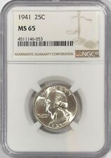 1941 P NGC MS65 SILVER WASHINGTON QUARTER LUSTER 25C GEM BU UNCIRCULATED 90%