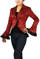 RED GOTHIC LACE TRIM CORSET JACQUARD JACKET WAVY VICTORIAN STEAMPUNK VINTAGE
