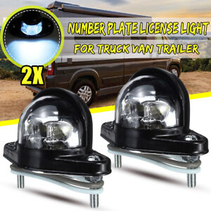 2X Universal Number Plate License Light For RV Trailer Truck Lamp 6 LEDs +
